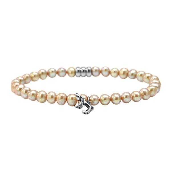 925 Italy Silver Jewish Chai Charm in South Sea Pearl Spiritual Bead Bracelet