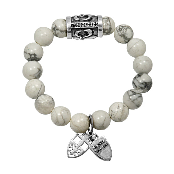 925 Sterling Silver Fleur De Lis in White Jasper Bead Stretch Bracelet 7.5""