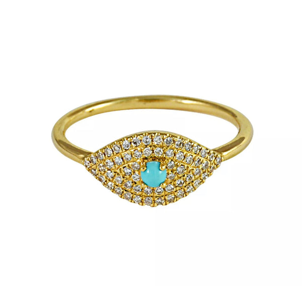 0.23ct Cabochon Turquoise & Diamonds in 14K Gold Evil Eye Ring