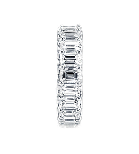 7.6tcw Emerald-Cut Floating Diamond 14K White Gold Eternity Band - Size 5.5