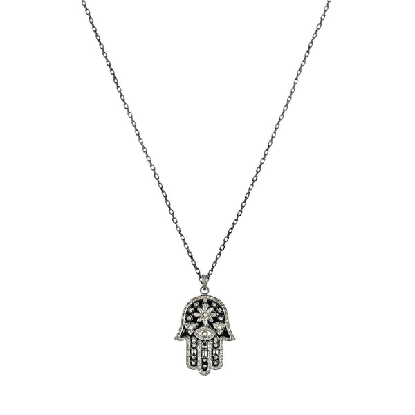 1.34ct Champagne Diamonds in 925 Sterling Silver Hamsa Hand Pendant Necklace