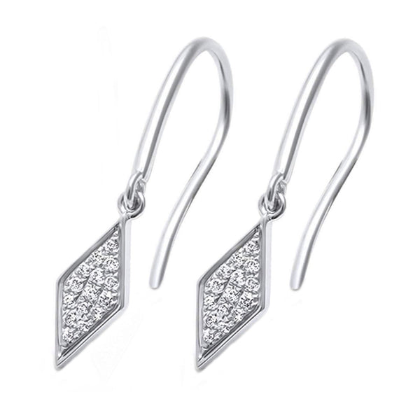 0.09ct Round Diamonds in 14K White Gold Ace of Diamond Dangle Earrings