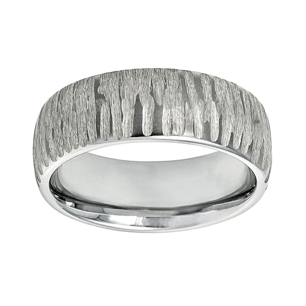 8mm Tungsten Semi-Dome Chiseled Men's Ring