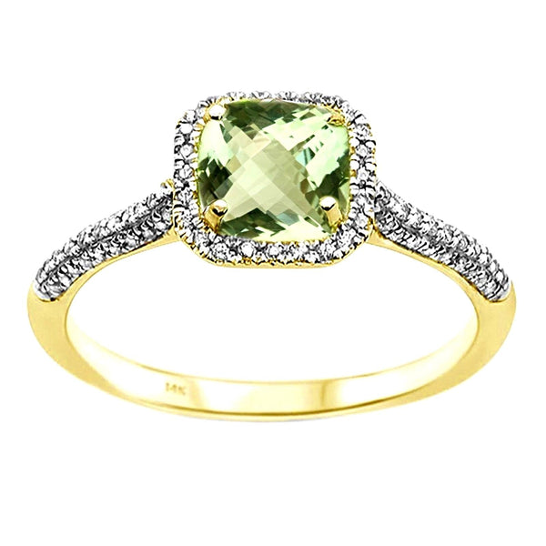 1.01tcw Cushion Green Amethyst & Diamond in 14K Yellow Gold Halo Ring