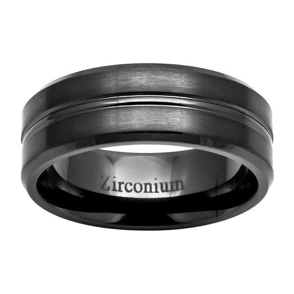 8mm Zirconium Grooved Center Beveled Edge Men's Wedding Band