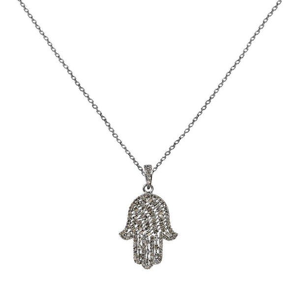 1.29ct Diamonds in 925 Sterling Silver Hamsa Hand Pendant Necklace