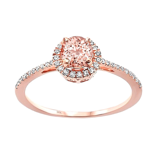 0.59tcw Round Morganite & Diamond in 14K Rose Gold Halo Engagement Ring