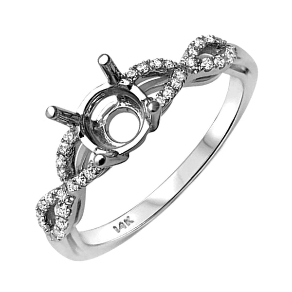 0.19ct Side Diamonds 14K White Gold Infinity Semi Mount Ring