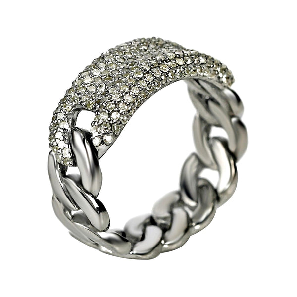 0.60ct Pavé Diamonds in 925 Sterling Silver Curb Link ID Band Ring