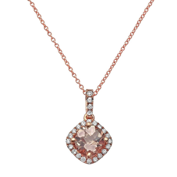 0.89tcw Cushion Cut Morganite & Diamond in 14K Rose Gold Pendant Necklace