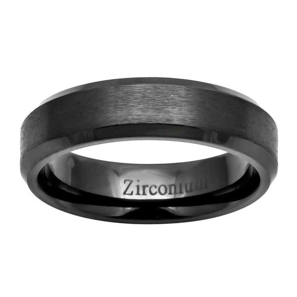 6mm Zirconium Brushed Center Beveled Edge Men's Wedding Band