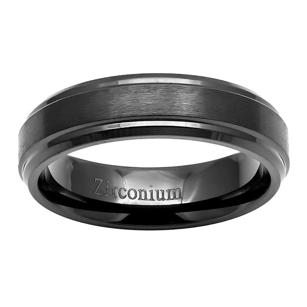 6mm Zirconium Brushed Center Stepped Edge Men's Wedding Band