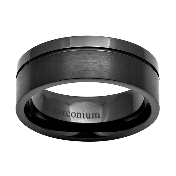 8mm Zirconium Pipe-Cut Off Center Grooved Men's Wedding Band