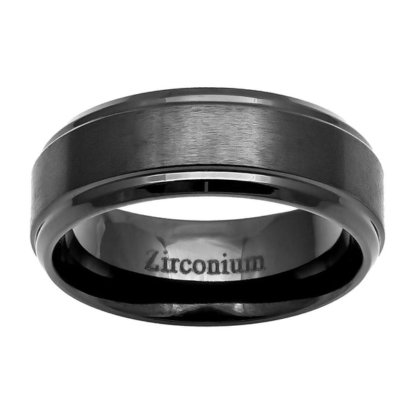 8mm Zirconium Brushed Center Stepped Edge Men's Wedding Band