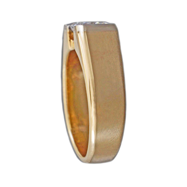 2.00ct Radiant Cut Diamond in 2Tone 14K Yellow Gold Men's Wedding Ring