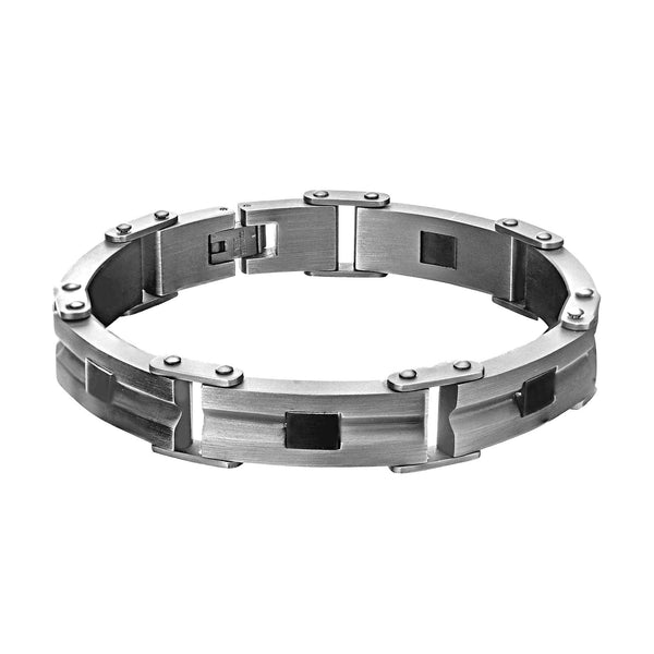 "316L Brushed Stainless Steel with Black Accent Chain Bracelet 7.5"" Adjustable"
