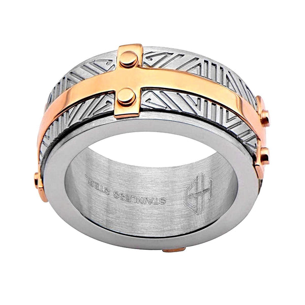 316L Stainless Steel 2Tone Rose Gold IP Labyrinthine Men's Ring