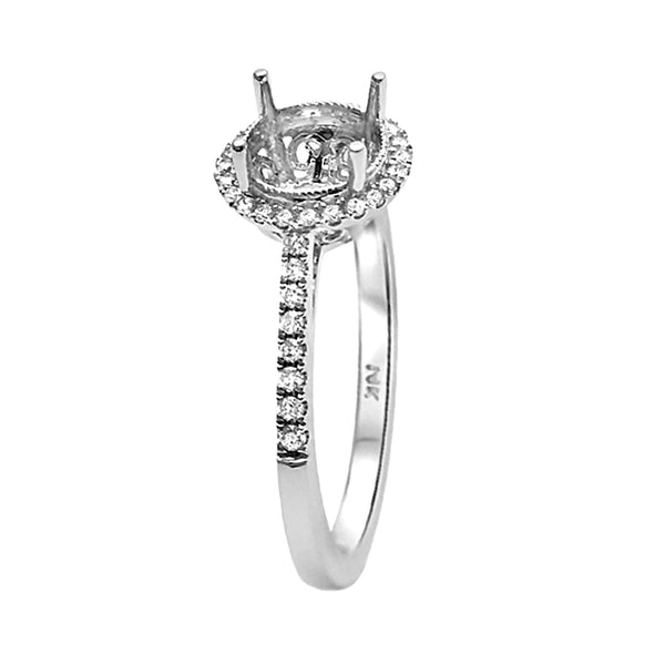 0.19ct Side Diamonds 14K White Gold Filigree Semi Mount Ring
