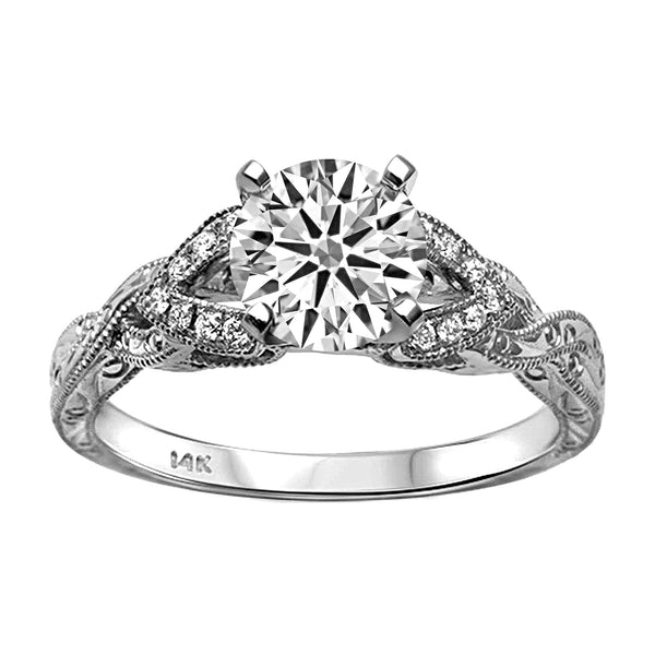 0.09ct Side Diamonds 14K White Gold Filigree Semi Mount Ring