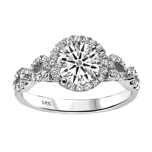 0.42ct Side Diamond 14K White Gold Semi Mount Engagement Ring