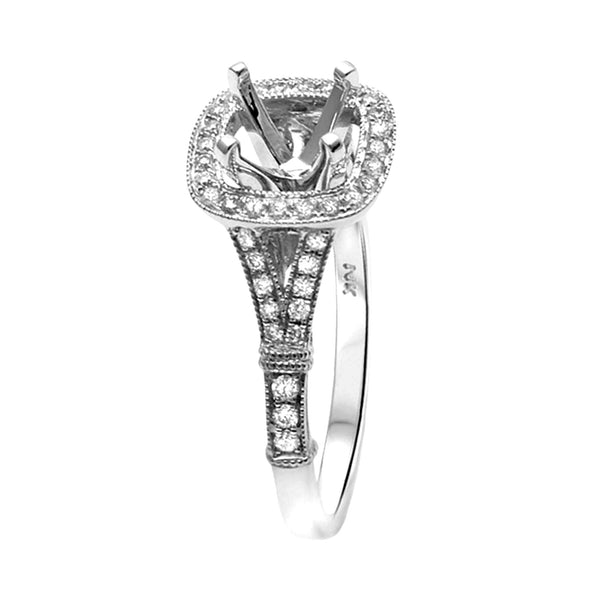 0.29ct Side Diamond 14K White Gold Cushion Semi Mount Ring