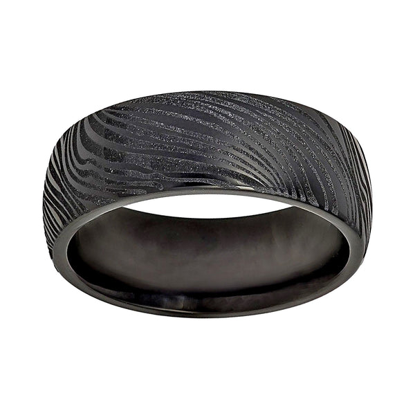 8mm Black Tungsten Semi-Dome Mokume Wood Grain Pattern Men's Ring