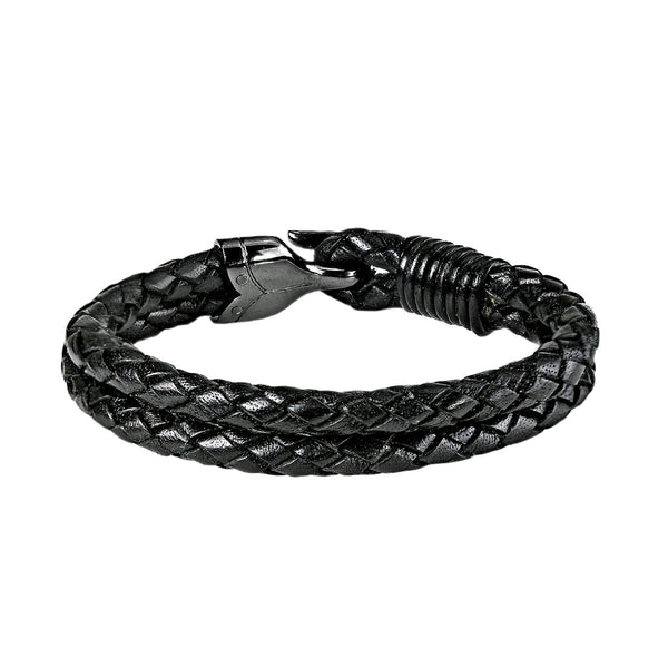 0.25ct Fancy Diamonds 925 Silver Hook Black Braided Leather Bracelet 7.5""