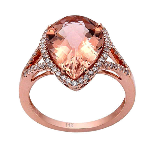 4.71tcw Pear Morganite & Diamonds in 14K Rose Gold Halo Engagement Ring