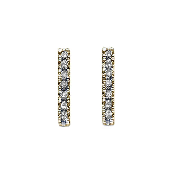 0.12ct Pavé Round Diamonds in 14K Gold Skinny Bar Stud Earrings