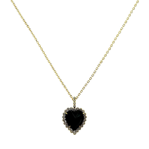 23.27tcw Black & Clear Diamonds in 14K Yellow Gold Halo Heart Charm Necklace