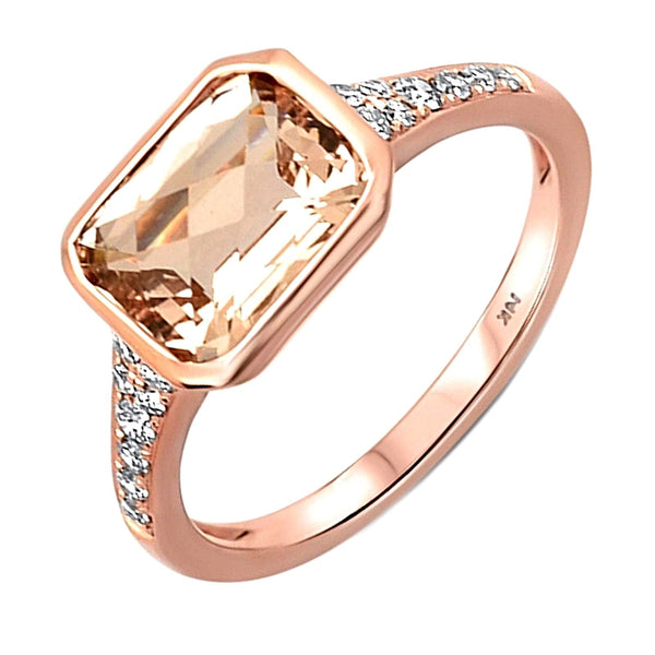 2.27tcw Emerd-Cut Morganite & Diamond Accents in 14K Rose Gold Ladies Ring
