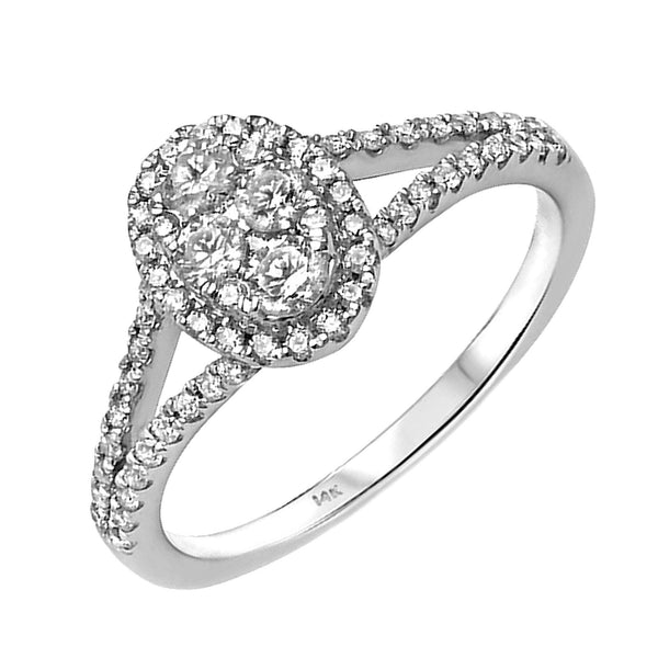 0.62ct Diamonds in 14K White Gold Oval Halo Engagement Ring
