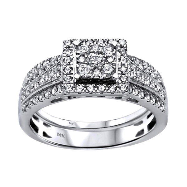 0.77ct Diamonds in 14K White Gold Wedding Set Square Halo Ring