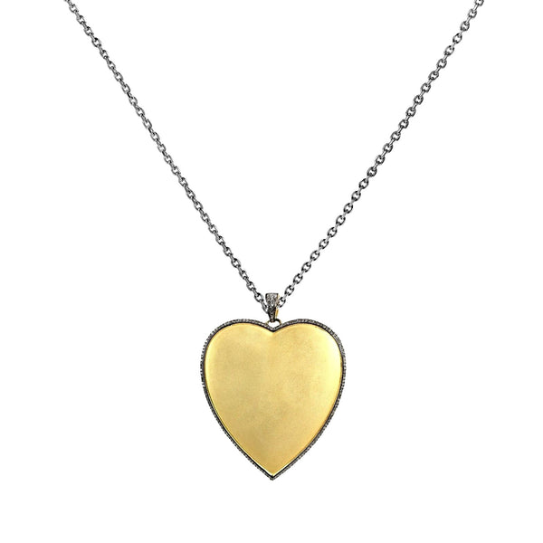 1.46ct Pavé Diamonds in 925 Sterling Silver Yellow Gold Plated Heart Pendant Necklace