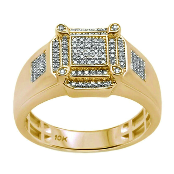 0.27ct Round Diamonds in 10K Yellow Gold Men's Ring