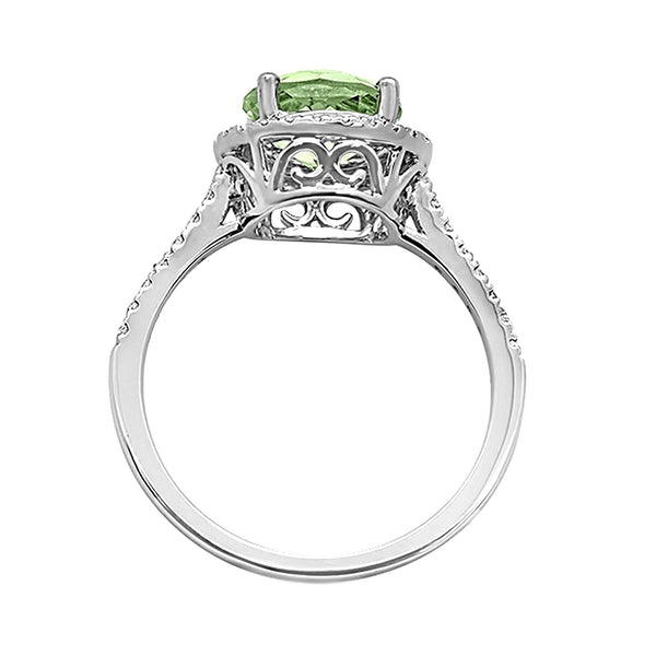 1.82tcw Round Green Amethyst & Diamond in 14K White Gold Halo Ring