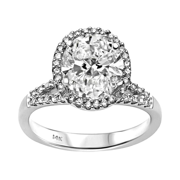 0.32ct Side Diamond in 14K White Gold Oval Halo Semi Mount Engagement Ring