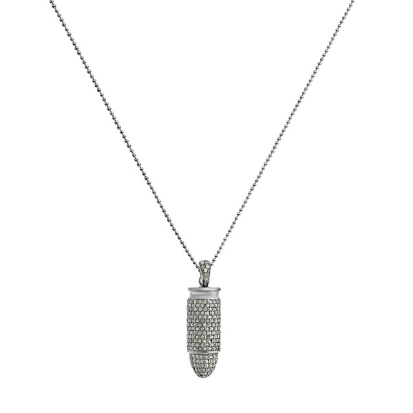 3.86ct Diamonds in 925 Black Rhodium Sterling Gun Bullet Pendant Necklace