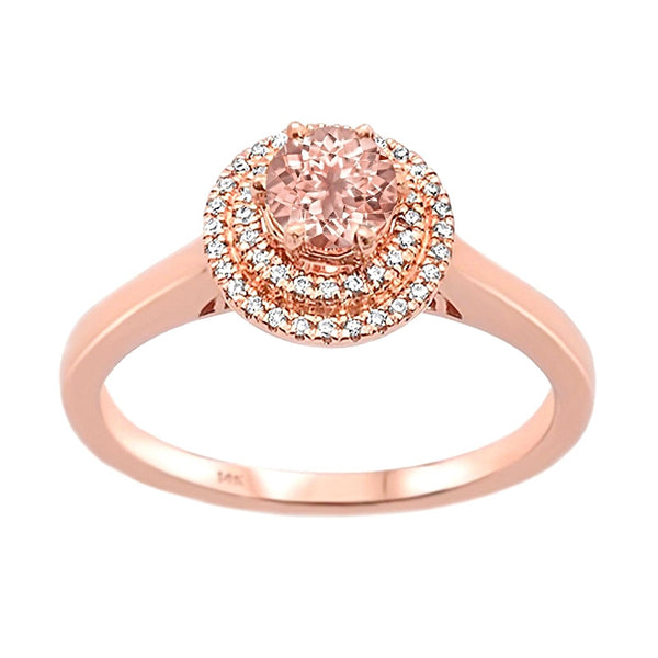 0.51tcw Round Morganite & Diamond in 14K Rose Gold Double Halo Ring