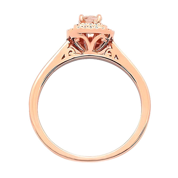 0.63tcw Emerald Cut Morganite & Diamond in 14K Rose Gold Double Halo Ring