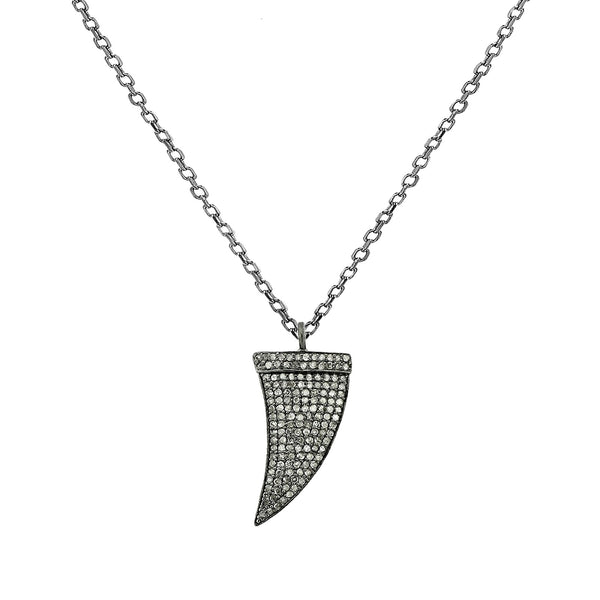 1.27ct Pavé Round Diamonds in 925 Silver Dagger Charm Necklace 20""