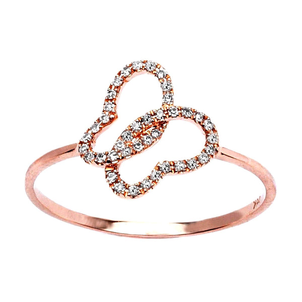 0.14ct Pavé Round Diamonds in 14K Rose Gold Butterfly Ring
