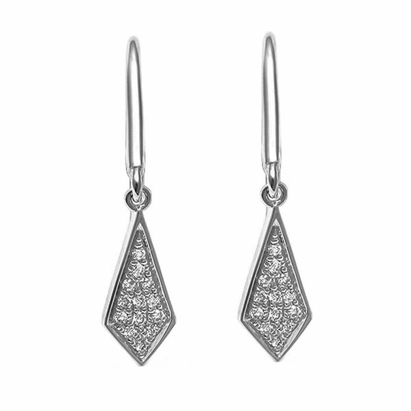 0.08ct Round Diamonds in 14K White Gold Ace of Diamond Dangle Earrings