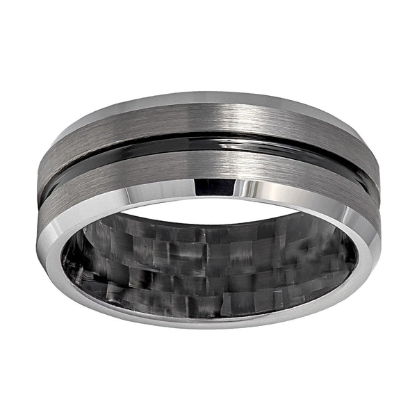 Tungsten Grooved Center with Black Carbon Fiber Inside Inlay Men's Eternity Ring