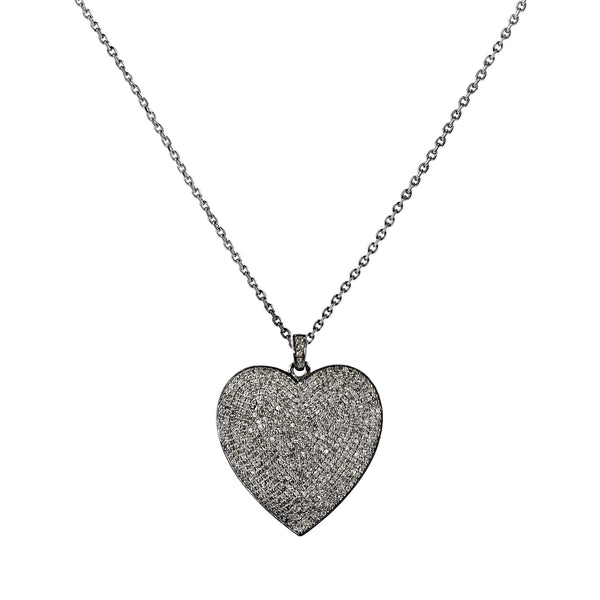 3.70ct Micro Pavé Diamonds in 925 Sterling Silver Heart Pendant Necklace