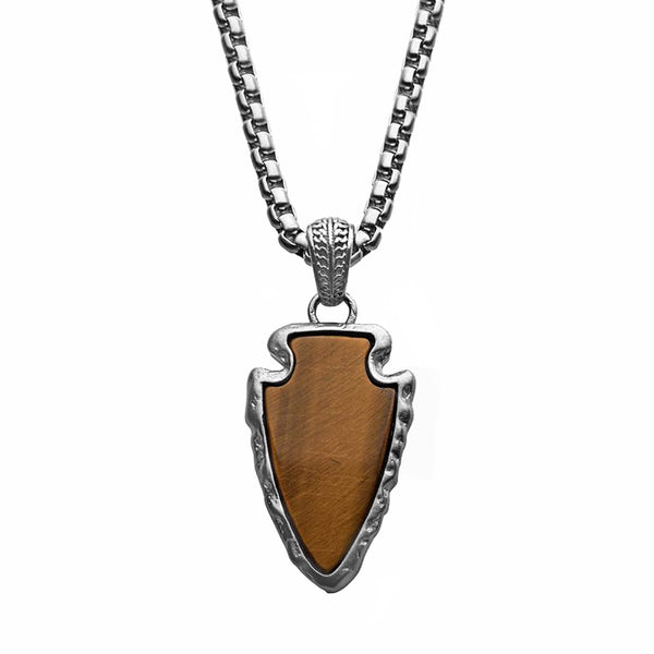 316L Brushed Stainless Steel with Tiger's Eye Flint Arrowhead Pendant Necklace 24""