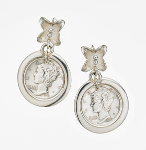 Floral Coin - Hook Earring