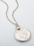 Liberty Coin Rose Pendant - Sterling Silver on Belcher Chain