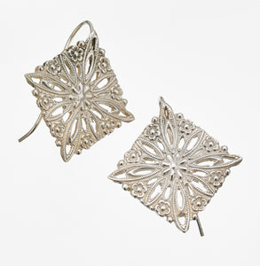 Floral Diamond - Hook Earring