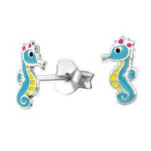 Sterling Silver Enamel Earrings - Seahorse